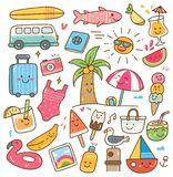 Various summer related object in kawaii style illustration stock illustration