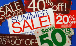 Various summer sale signs stock images