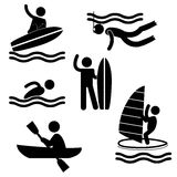 Various Summer water sport pictograms flat people icons symbol Stock Photography
