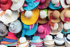 Various sun hats in the shop Stock Photo