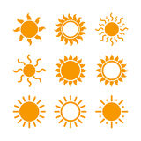 Various Sun Icons Stock Photo