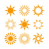 Various Sun Icons Royalty Free Stock Images