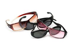 Various sunglasses. Isolated  on the white background Royalty Free Stock Image