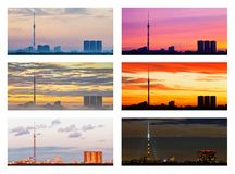 Various sunsets and sunrises over city royalty free stock photo