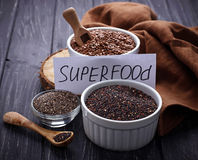 Various superfoods chia, quinoa, flax seed Stock Images