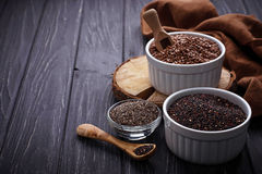 Various superfoods chia, quinoa, flax seed Royalty Free Stock Photography