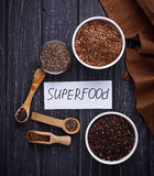 Various superfoods chia, quinoa, flax seed Stock Photo