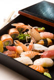 Various sushi in a box Stock Images