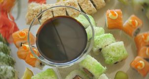 Various Sushi with different kind of topping stock video footage
