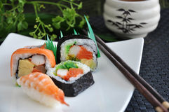 Various sushi japanese food. On white plate Stock Images