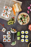 Various sushi, Japanese  lunch and side dishes Royalty Free Stock Photo