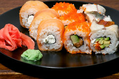 Various sushi on the plate macro Stock Photography