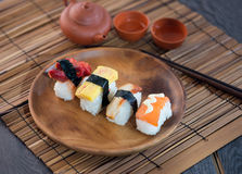 Various sushi on plate Royalty Free Stock Photography