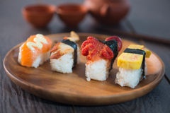 Various sushi on plate Stock Images