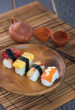 Various sushi on plate Stock Image
