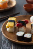 Various sushi on plate Royalty Free Stock Images