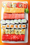 Various sushi rolls above view Royalty Free Stock Images