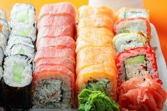 Various sushi rolls closeup Stock Photo