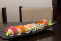Various sushi rolls on plate Stock Image