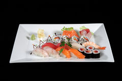 Various sushi and sashimi royalty free stock photo