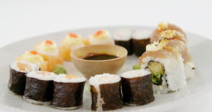 Various sushi served on plate. Close-up of various sushi served on plate stock video footage