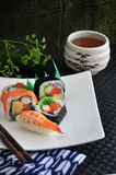 Various sushi set with tea Royalty Free Stock Photography