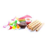 Various of sweetmeat on white background Royalty Free Stock Photos
