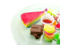Various of sweetmeat on white background. Various of dessert on white background Stock Image