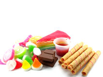 Various of sweetmeat on white background. Various of dessert on white background Stock Photography