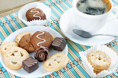 Various Sweets And Cup Of Coffee Royalty Free Stock Image