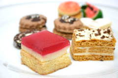 Various Sweets Detail. Various sweets on a white plate Royalty Free Stock Photos