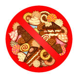 Various sweets inside prohibitory sign Stock Images