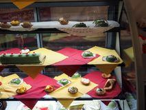 Various sweets typical of Sicily, southern Italy. View of various typical Sicilian sweets displayed in a pastry shop in the city of Palermo. In the picture you royalty free stock photography