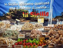Various sweets typical of Sicily, southern Italy. View of various typical Sicilian sweets exposed in a street market in the city of Palermo. In the picture you royalty free stock photo