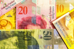 Various Swiss Francs Paper Currency Notes Stock Photo