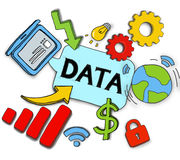 Various Symbols with Data Concept Illustration Royalty Free Stock Photo
