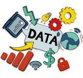 Various Symbols with Data Concepts Illustration Stock Photos