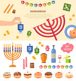 Various symbols and items of hanukkah celebration. Flat icons set isolated vector illustration