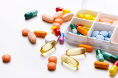 Various tablets,capsules and pills Stock Image