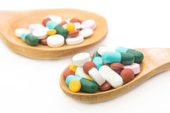 Various tablets pills for different therapy Royalty Free Stock Photo