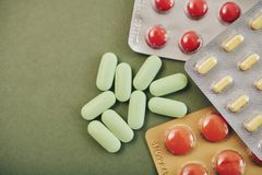 Heathcare concept. Various tablets and pills, view from above Stock Photo