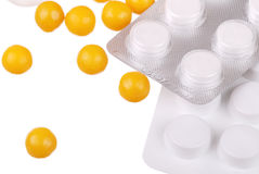 Various tablets and vitamins on white Royalty Free Stock Images
