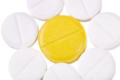 Various tablets and vitamins on white Royalty Free Stock Image