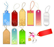 Various Tags and Businesswoman Figure Stock Photography