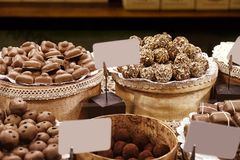 Various tasty sweets in  shop Royalty Free Stock Photos