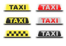 Various Taxi Signs Royalty Free Stock Photography