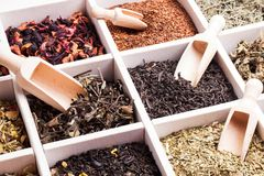 Various of tea in a box Royalty Free Stock Photography