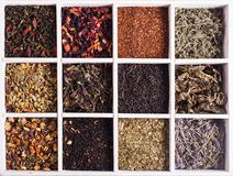 Various of tea in a box Stock Photography