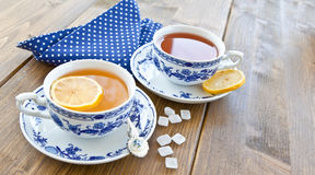 Various tea in china cups Royalty Free Stock Photography