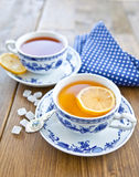 Various tea in china cups Royalty Free Stock Images